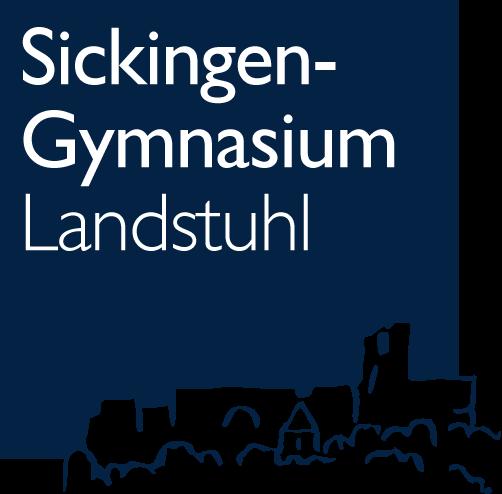 Das Logo des Sickingen-Gymnasiums. Dunkelblaues Quadrat mit weißem Schriftzug des Schulnamens in der linken oberen Ecke. Silhouette der Burg Nanstein im Anschnitt unten rechts.